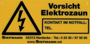 Elektrozaun-Warnschild