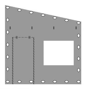 Plane Sonderkonfektion GRAU mit Fenster und Tür
