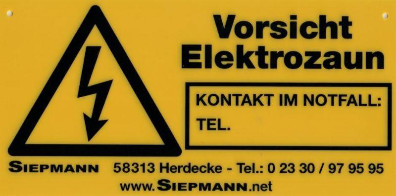 Warnschild mit Kontaktfeld
