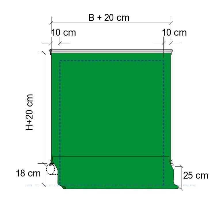 Konfektion des Torbehangs immer 20 cm breiter als die lichte Öffnung, somit 10 cm Überlappung pro Seite