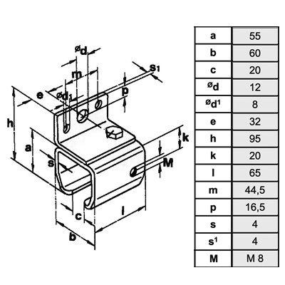 Wandmuffe für Laufschiene Typ 40/400kg