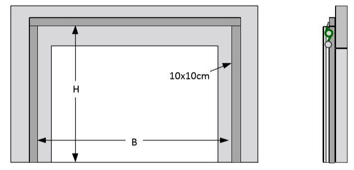 Skizze zum Einbau bei Erhalt der ursprünglichen Öffnungsmaße