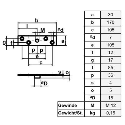 Maßskizze Anschraubplatte Typ 30