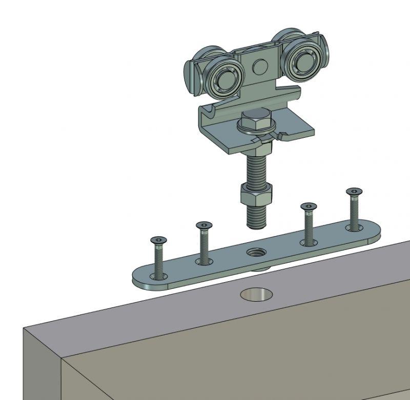Anschraubplatte mit Rollapparat - Montage