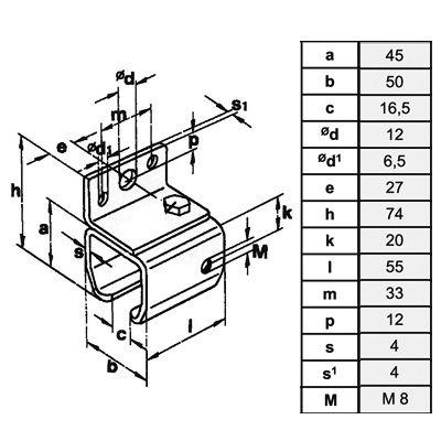 Wandmuffe für Laufschiene Typ 30/180kg